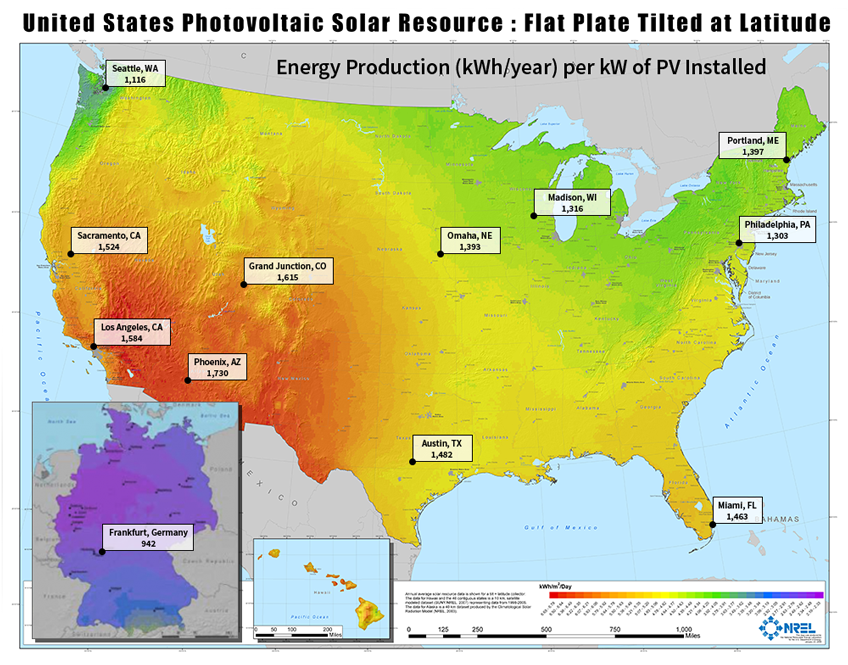 NREL Solar Resource Map